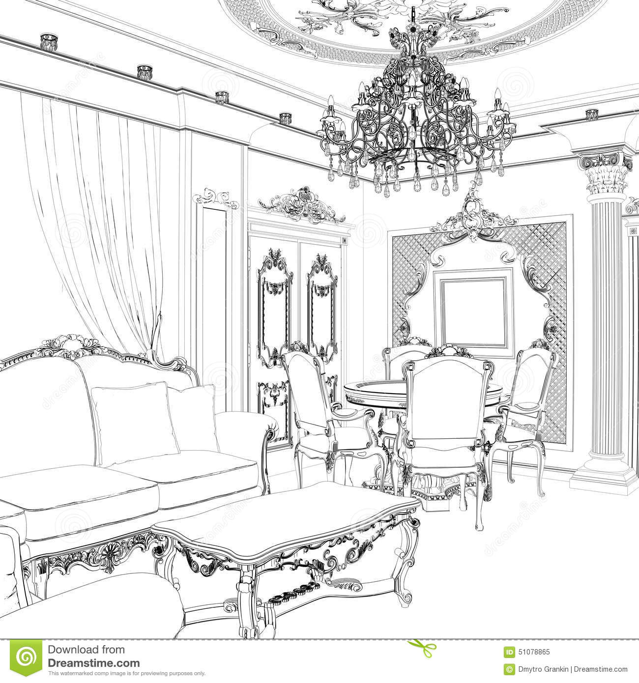 Sketch Of The Living Room With Sofa Frames And Coffee