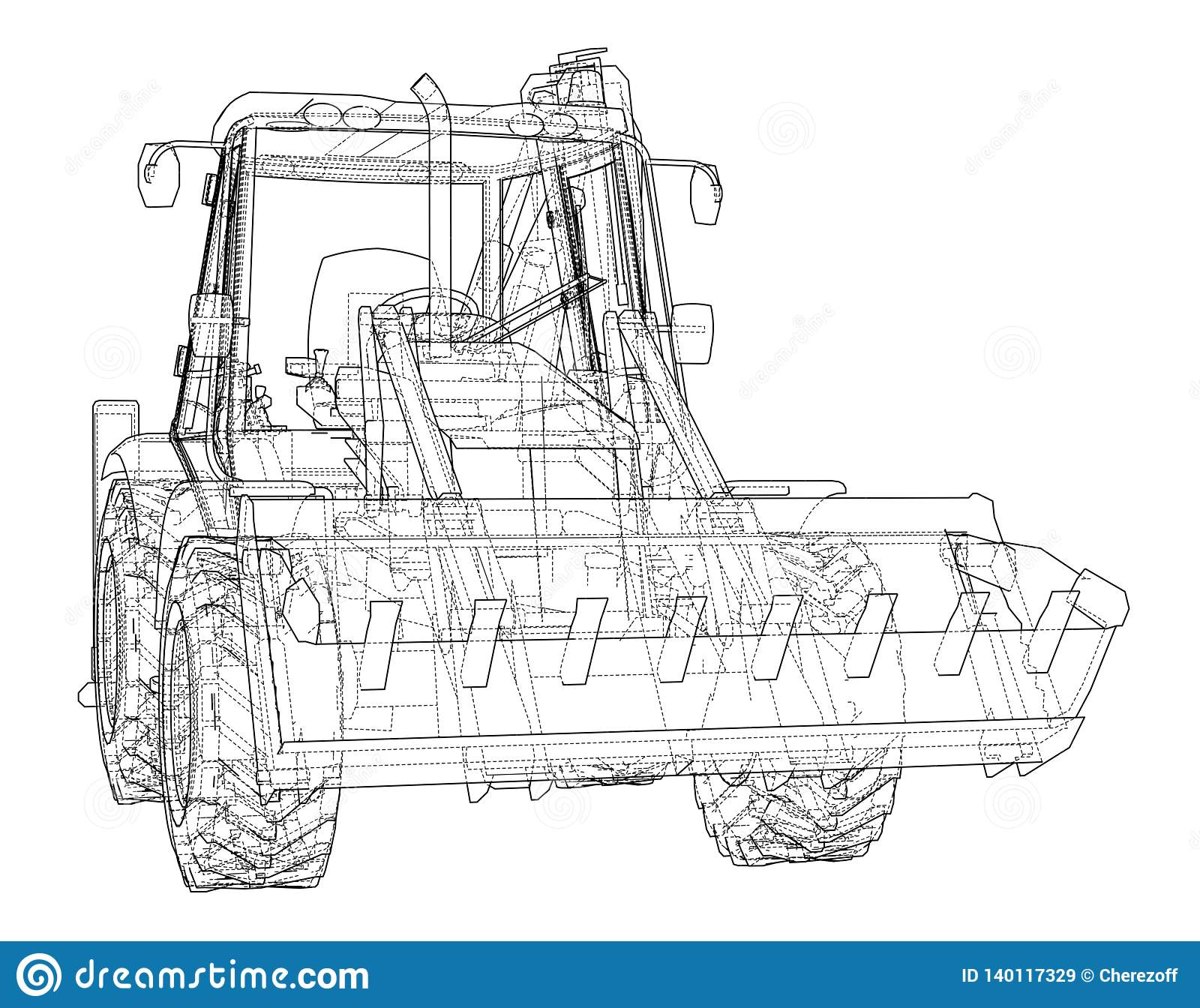 Sketch Of Loading Shovel With Back Actor Stock Vector