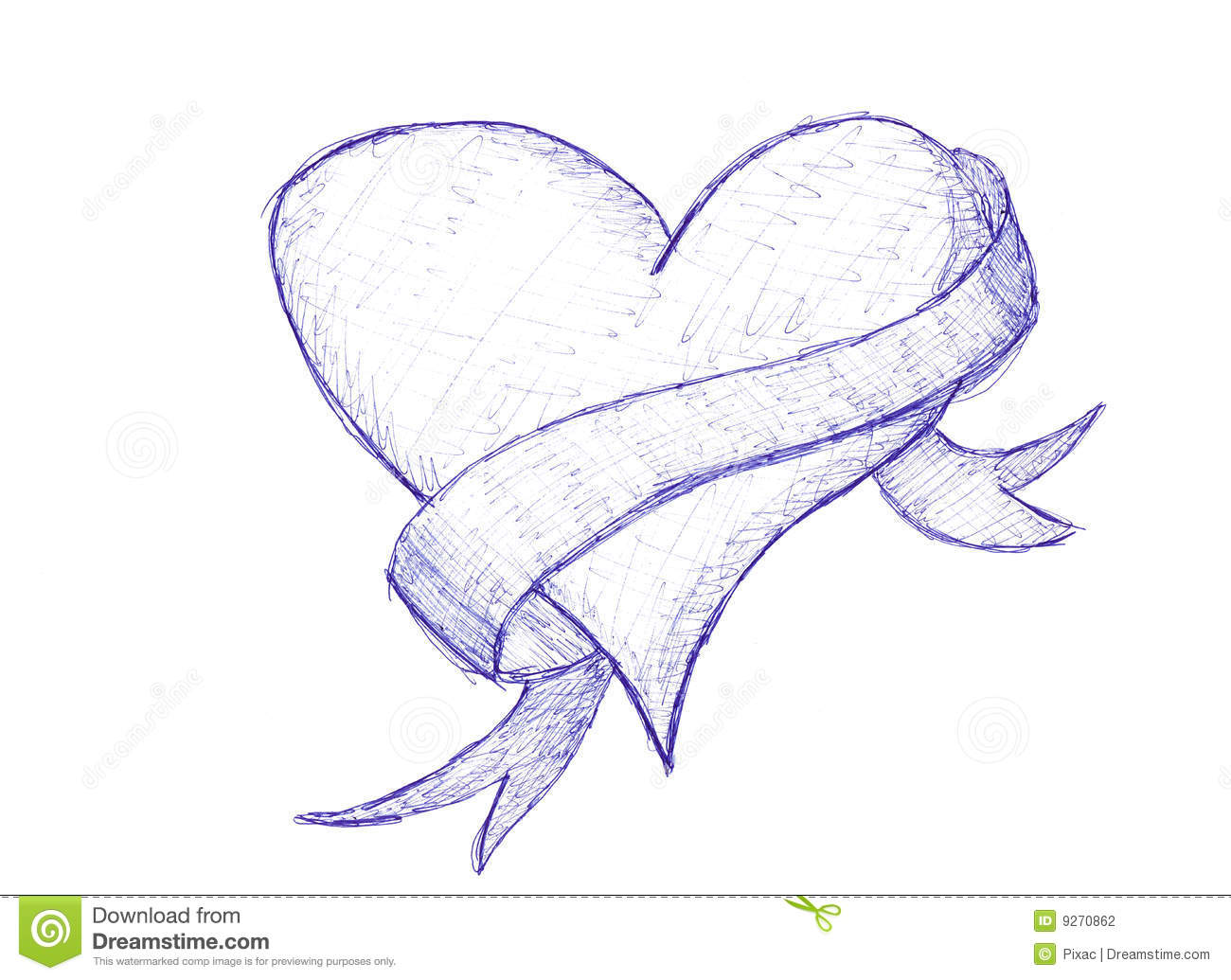 sketch of love heart stock illustration. illustration of symbol