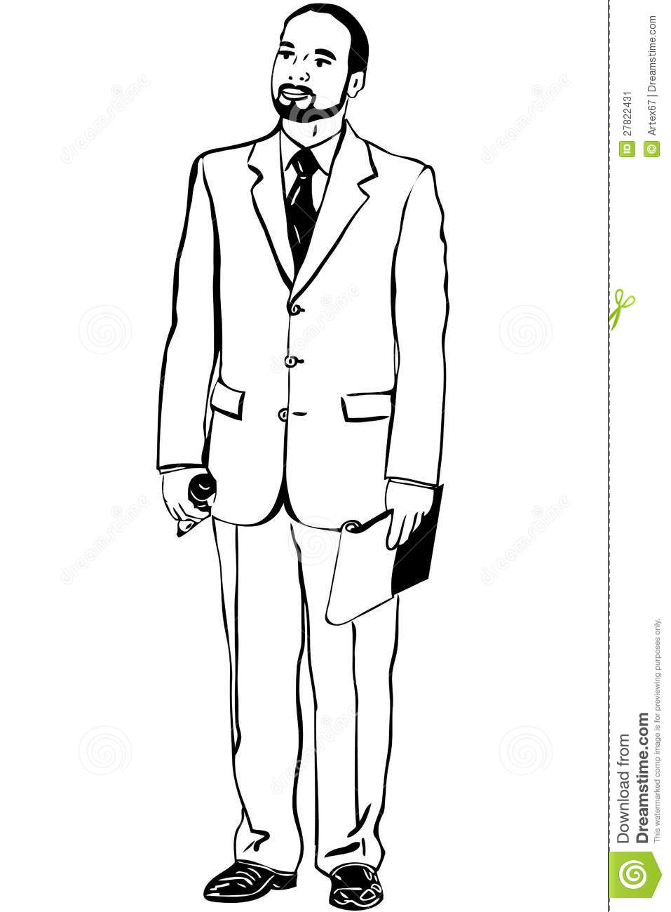sketch of man in an overwhites with a microphone stock