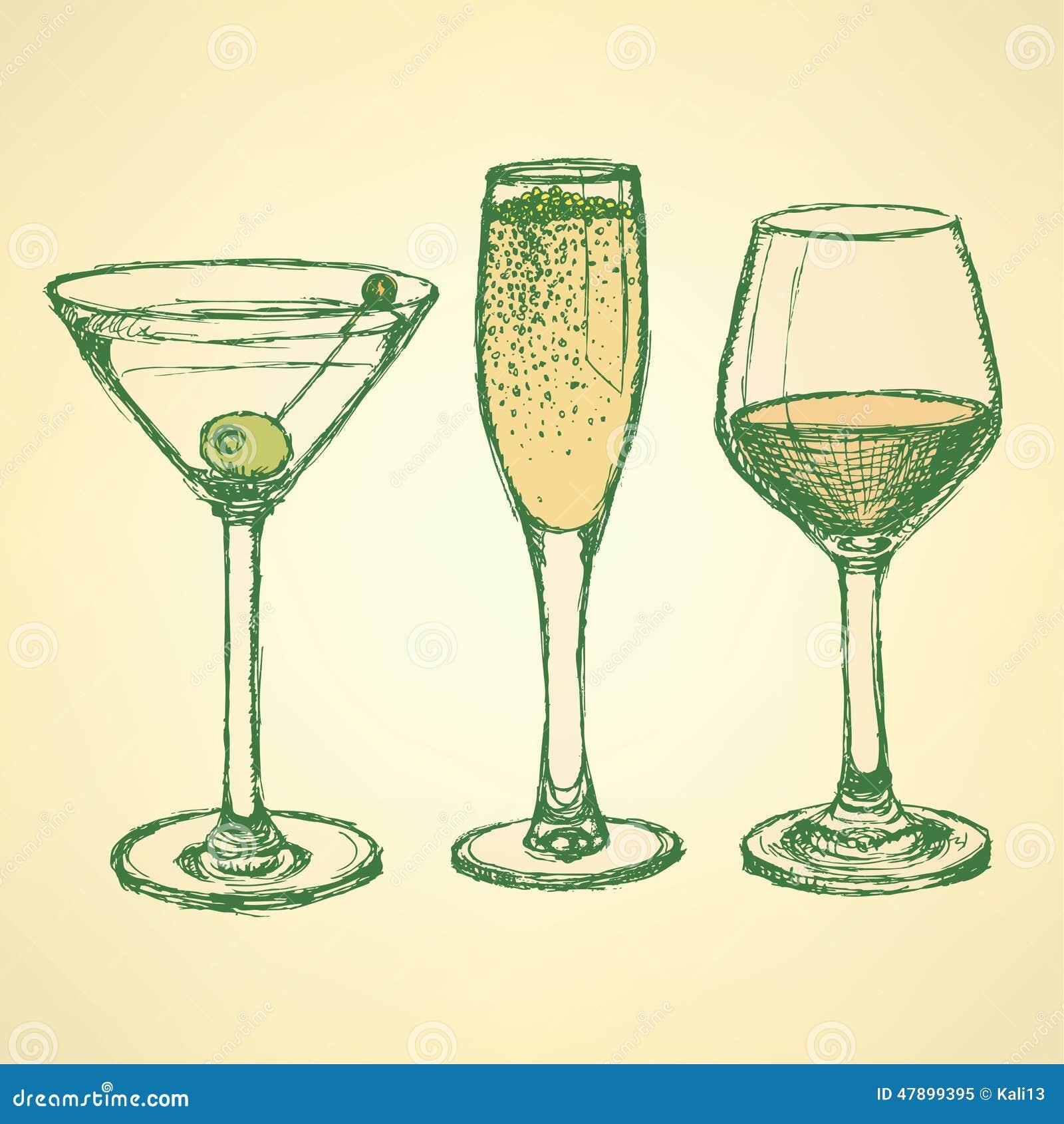 Sketch Martini, Champagne And Wine Glass Stock ...