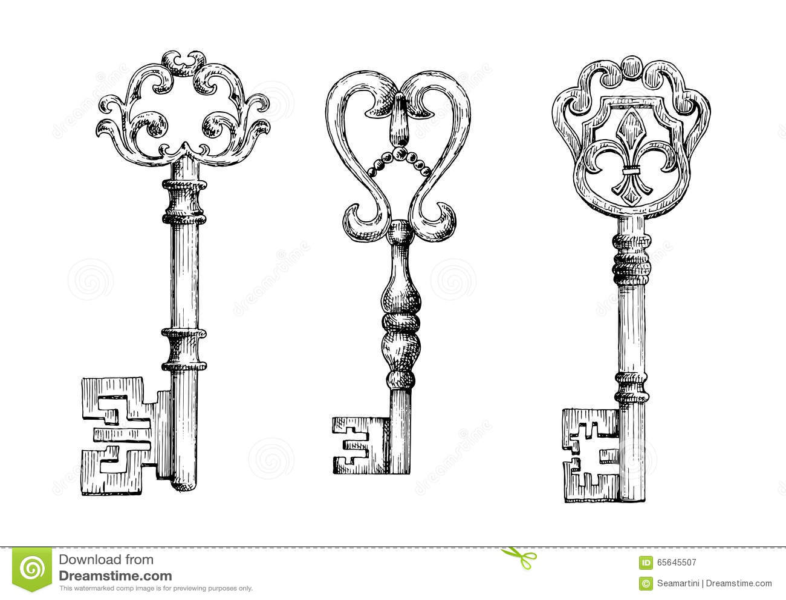 Sketch Of Medieval Skeleton Keys Stock Vector