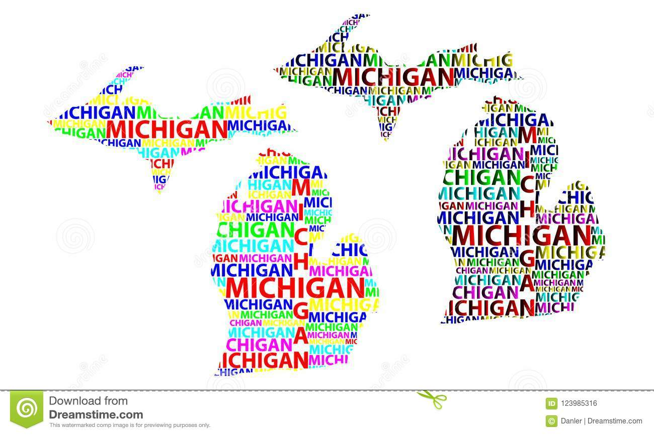 Map Of Michigan Vector Illustration Stock Vector Illustration Of