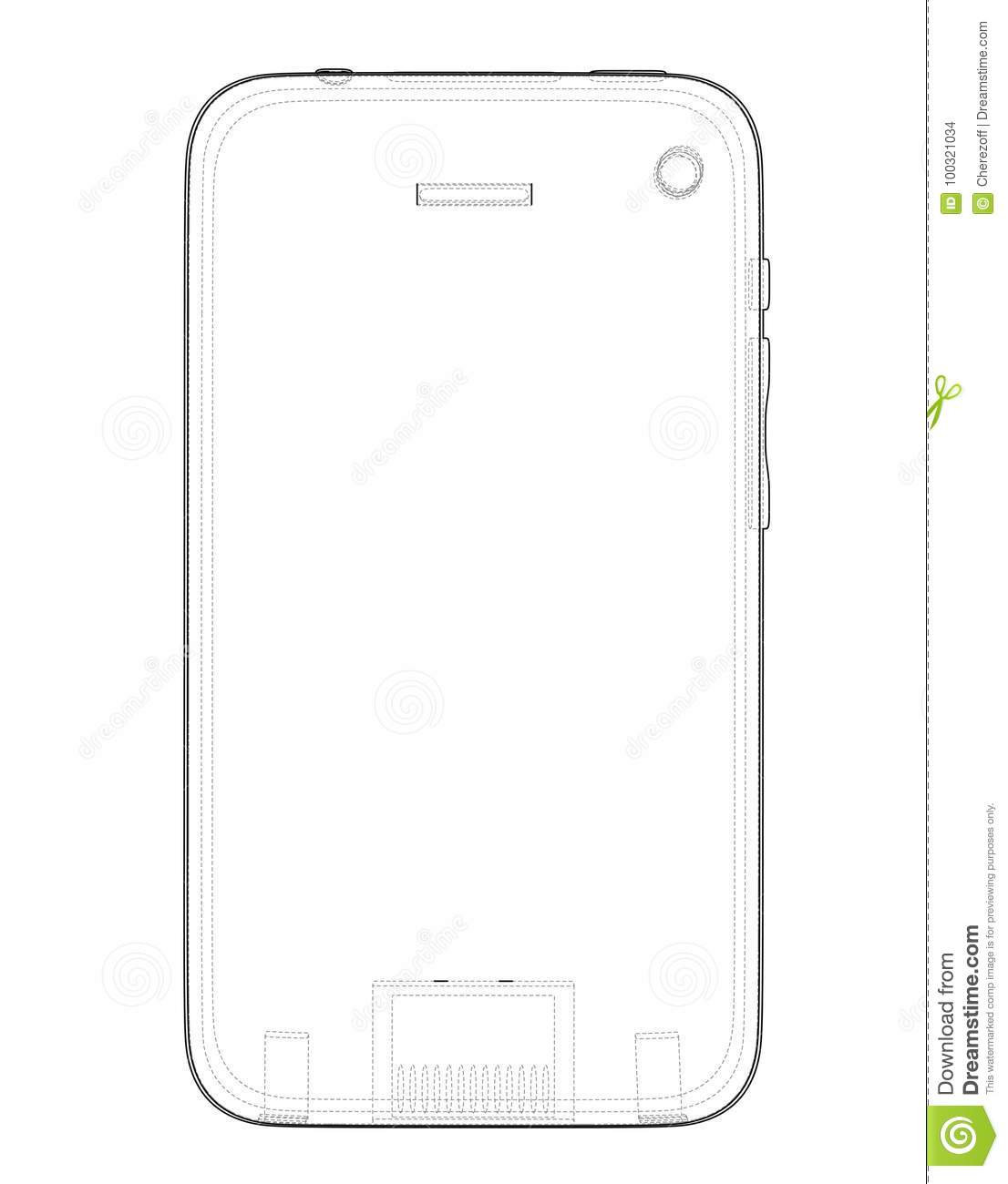 Sketch Of Mobile Phone  Vector Stock Vector - Illustration
