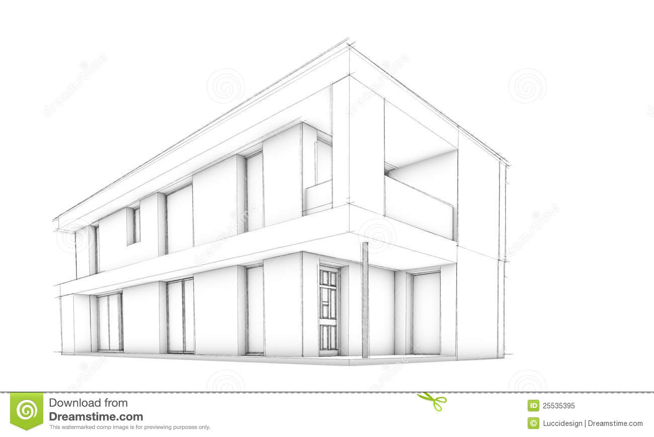 Sketch of modern house only house stock illustration for Best house design usa