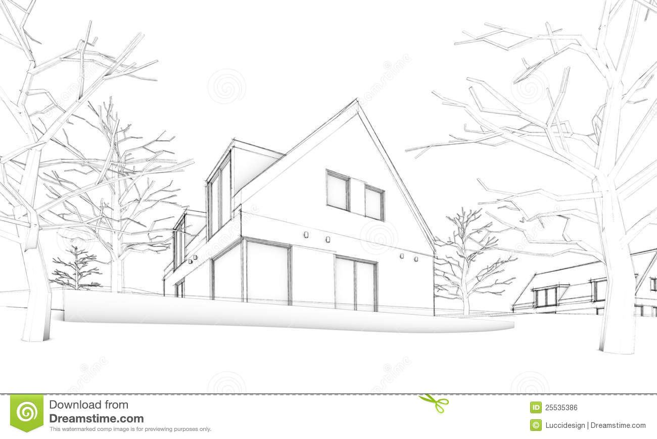 Sketch of modern house on hill situation stock for Modern house sketch
