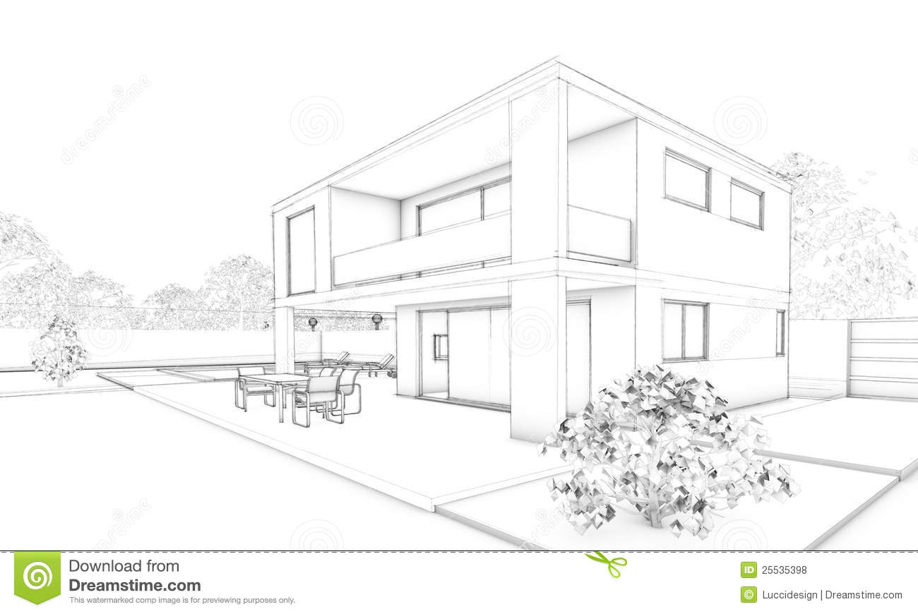 Sketch of modern house villa terrace and garden