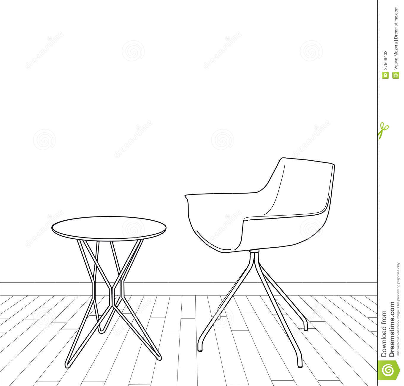 sketch of modern interior table and chair stock photos. Black Bedroom Furniture Sets. Home Design Ideas