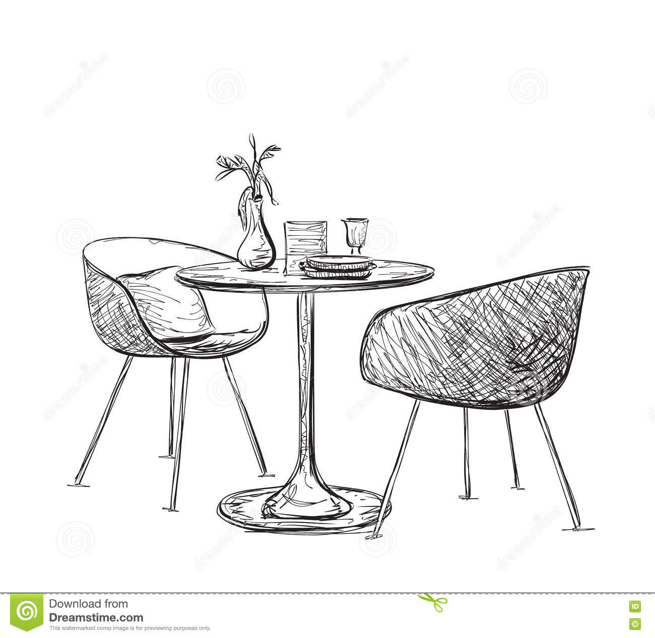 Sketch Of Modern Interior Table And Chairs. Vector Cartoon