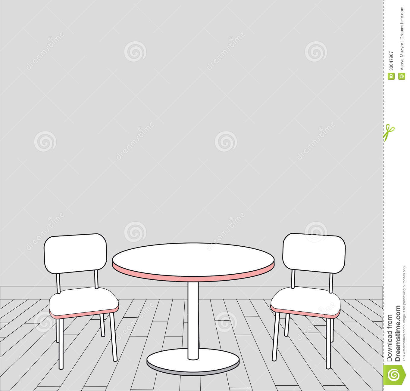 Sketch Of Modern Interior Table And Chairs Vector Royalty