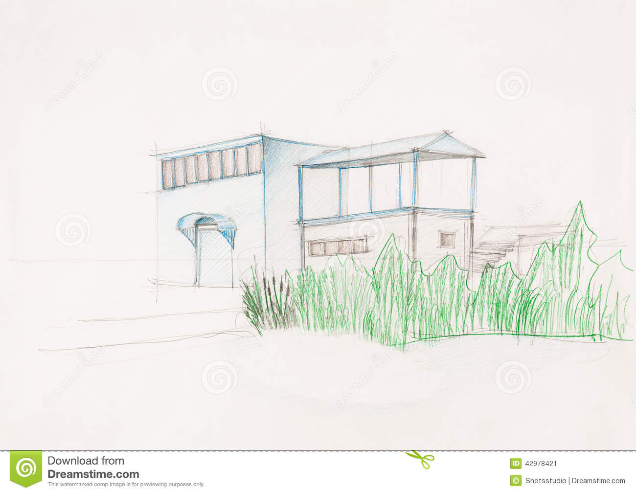 Sketch Of Modern House oyalty Free Stock Photo - Image: 9242855 - ^