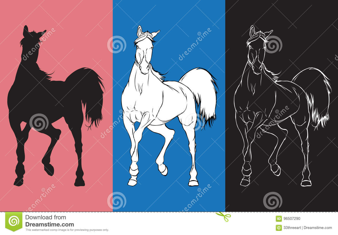 Sketch Of Movement Horse Stock Vector Illustration Of Color 96507290