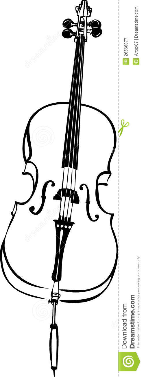 Sketch Of Musical String Instrument Stringed Cello Royalty