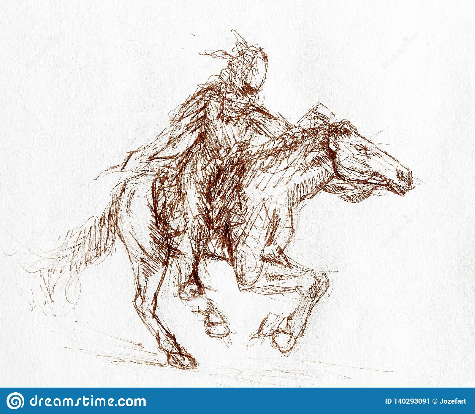 Sketch Of A Native American Man Riding On A Horse Stock Illustration Illustration Of Face Artist 140293091