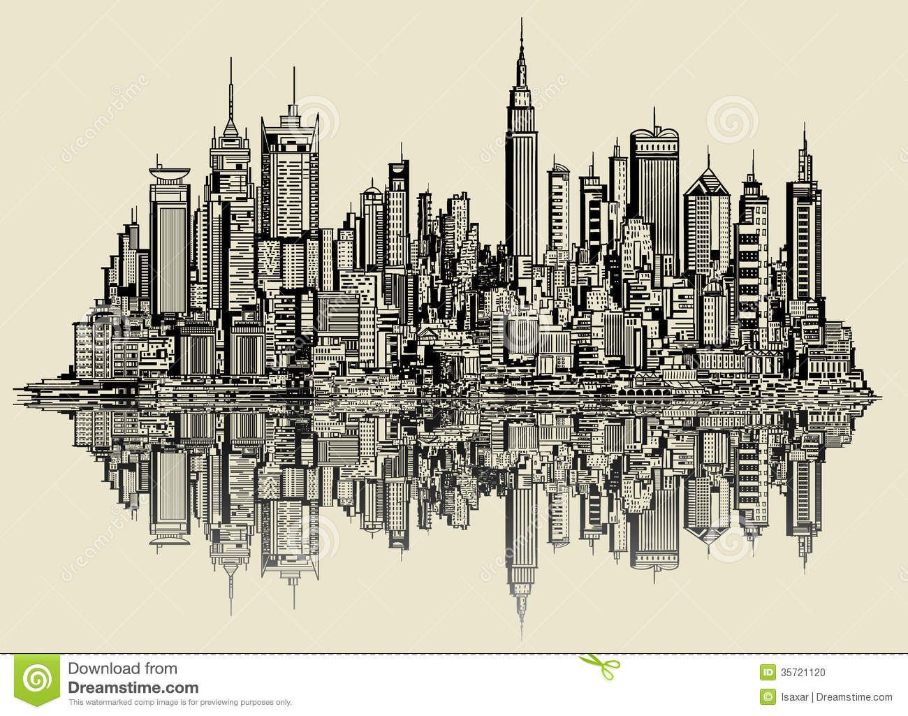 Vector illustration of a sketch of new york (fictitious).