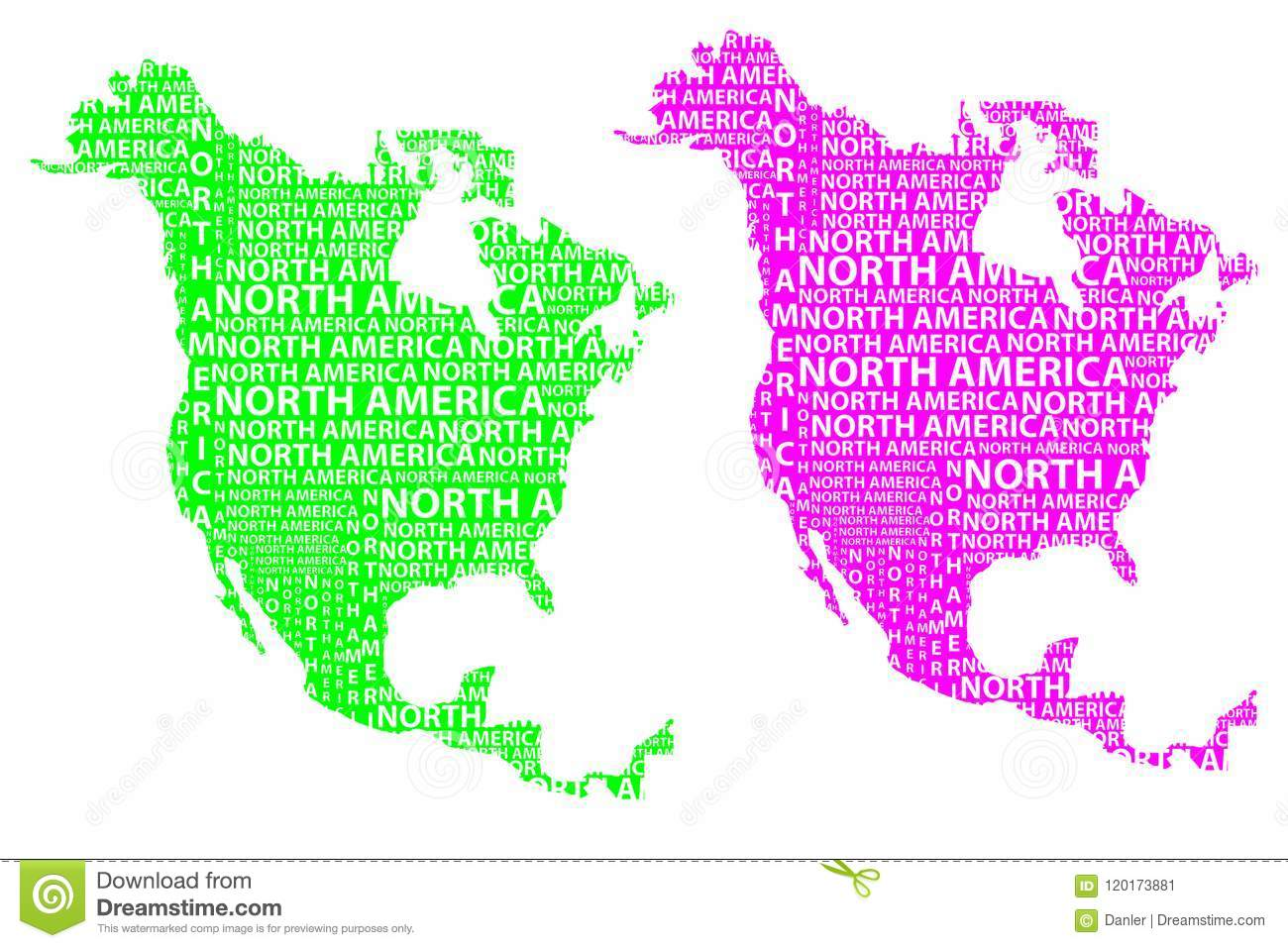 Purple America Map.Map Of Continent North America Vector Illustration Stock Vector