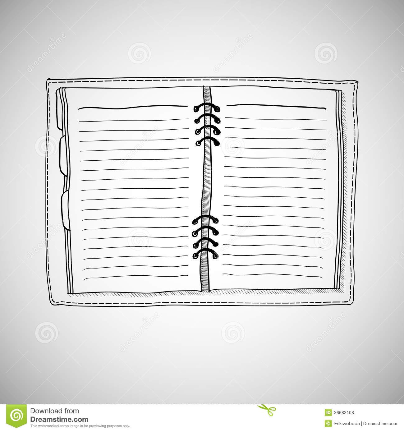 ... of notebook. Vector illustration with hand drawn notepad with page