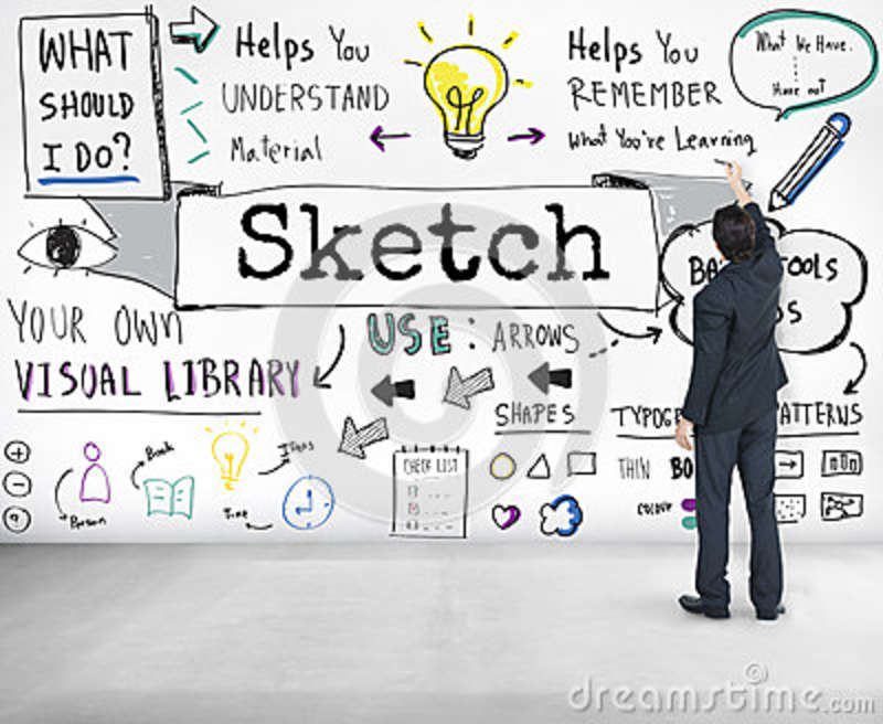Sketch Notes Creative Drawing Design Graphic Concept Stock Image