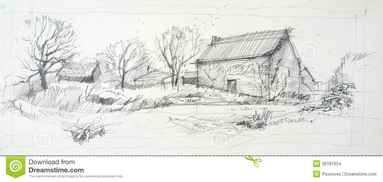 Sketch of an old barn