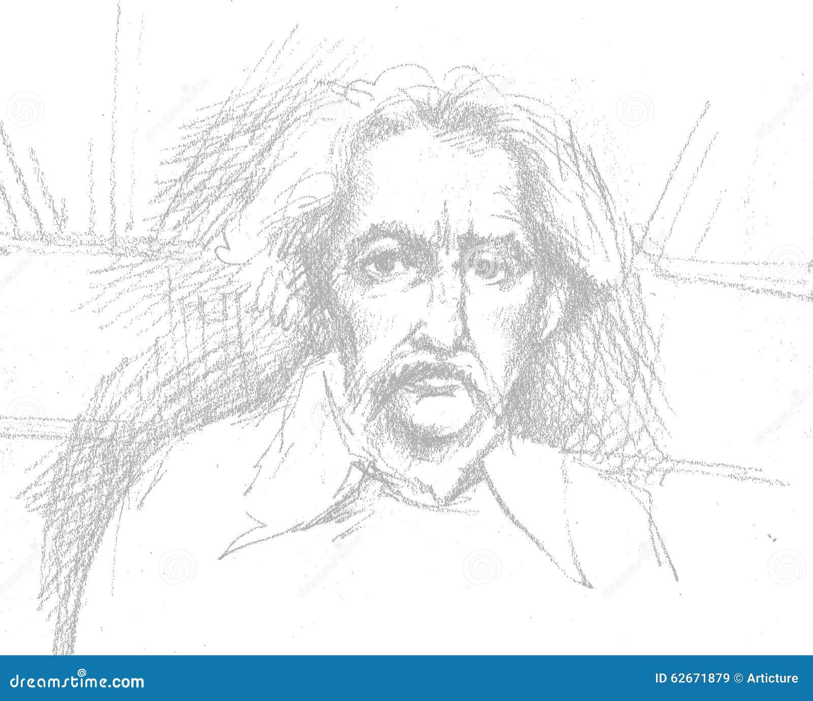 sketch of old man face stock illustration illustration of