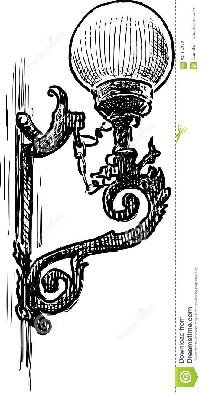 Sketch Of An Old Street Light Stock Vector