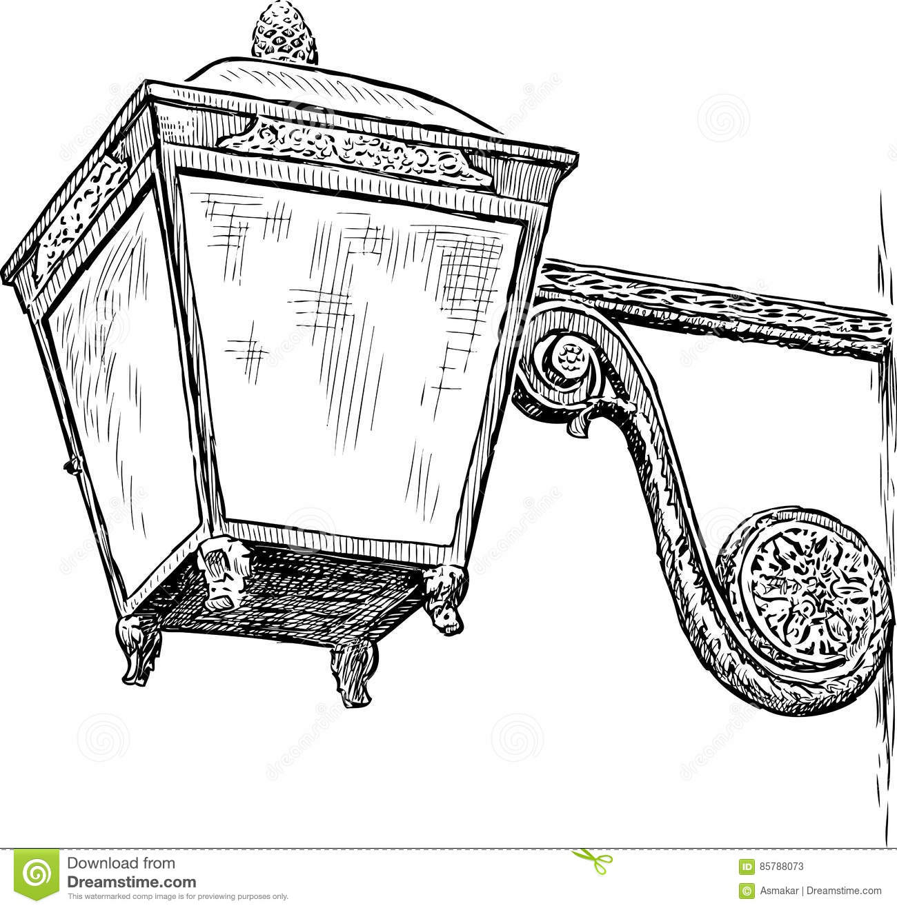Vector Drawing Of A Vintage Lantern