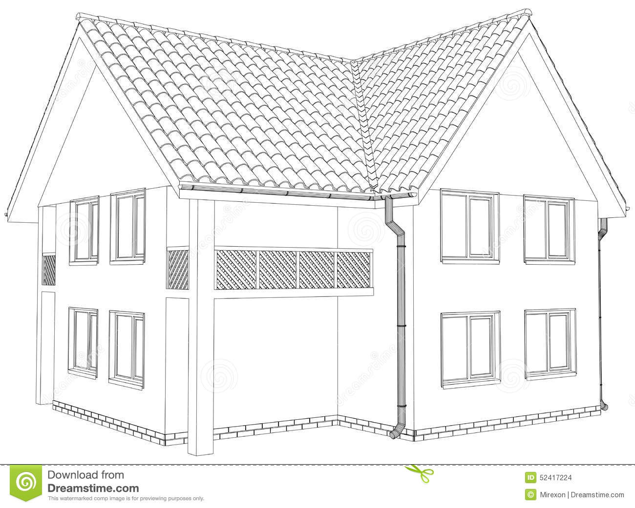 Line Art House Vector : Sketch outline house on the white background eps stock