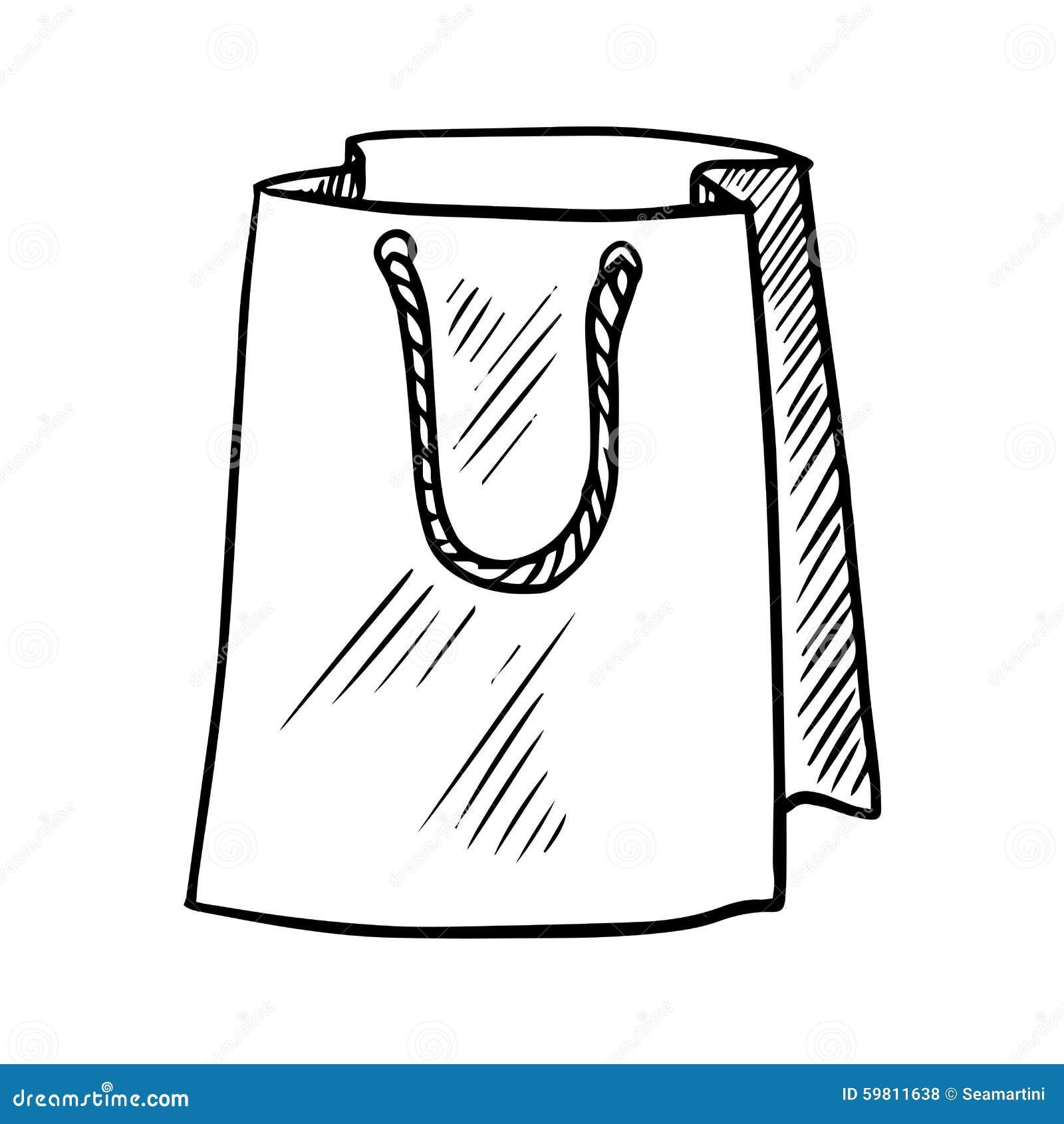 Paper bag sketch - Sketch Of Paper Shopping Bag