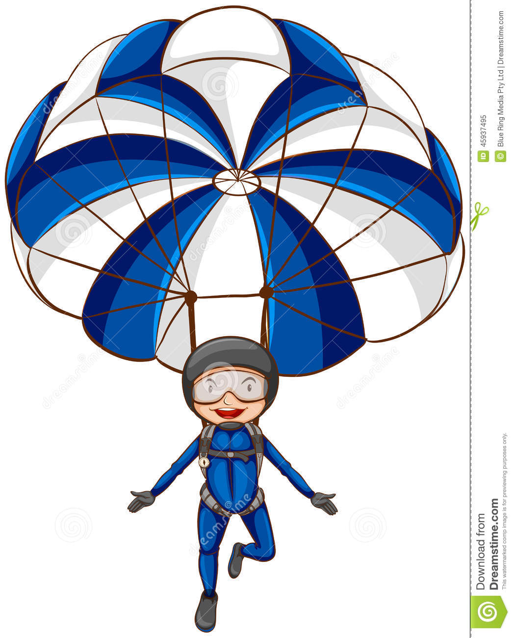 Illustration of sketch of a parachute with a boy a on a white ...