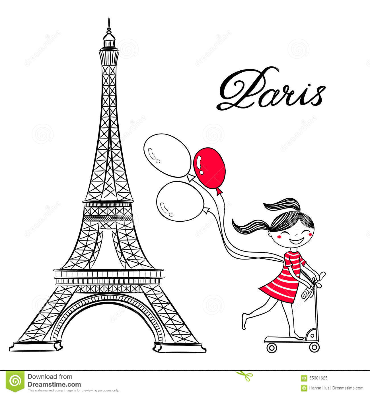 Sketch Of Paris Eiffel Tower And Girl On Scooter With Air Balloons Stock Vector
