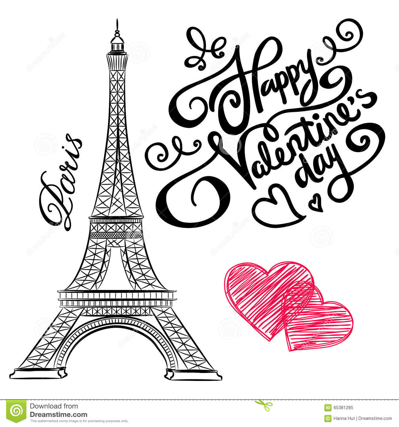 Paris Illustration: Sketch Of Paris, Eiffel Tower With Hearts Stock Vector