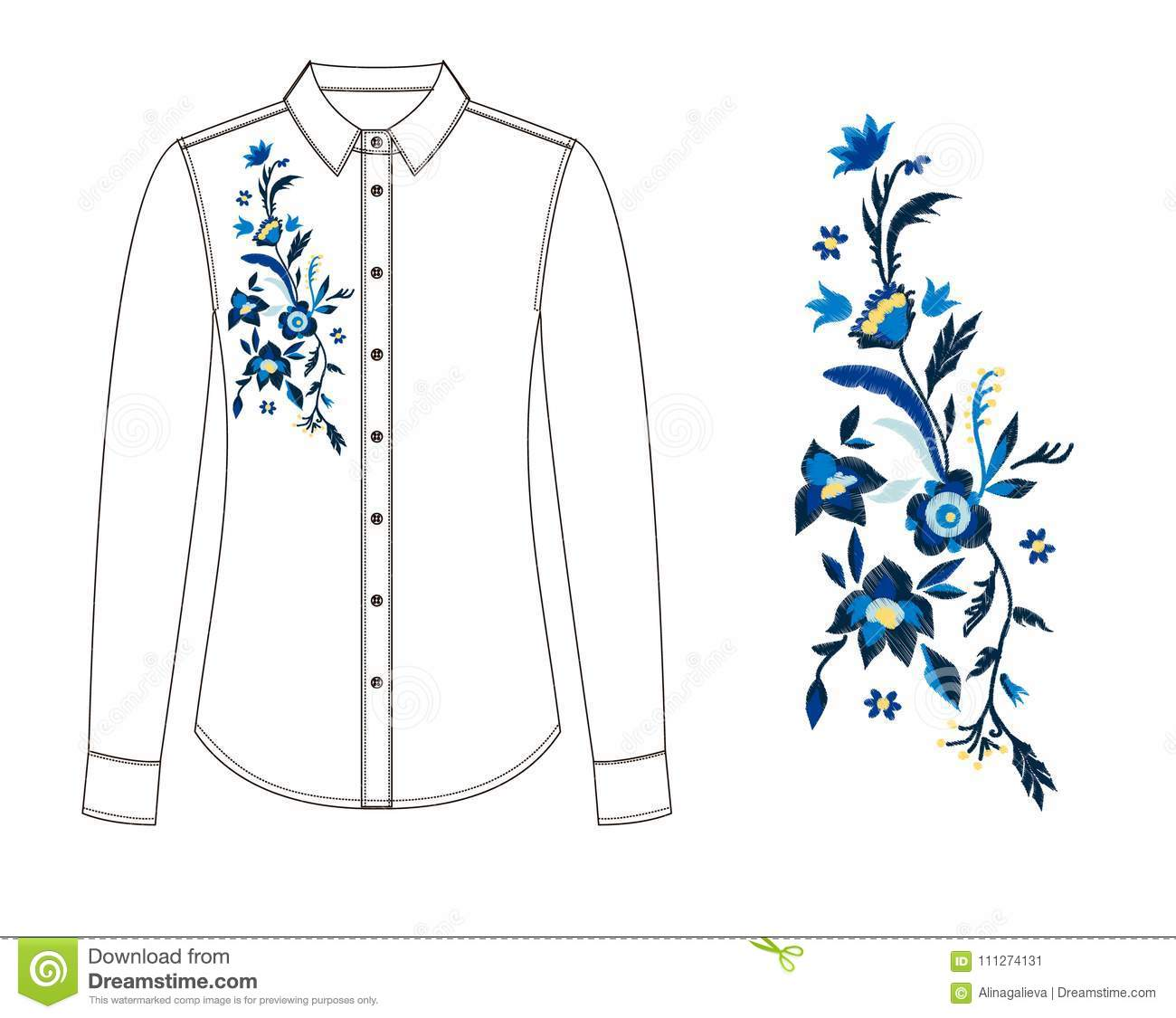 Sketch of parts of blouse with embroidery stock illustration download sketch of parts of blouse with embroidery stock illustration illustration of flower izmirmasajfo