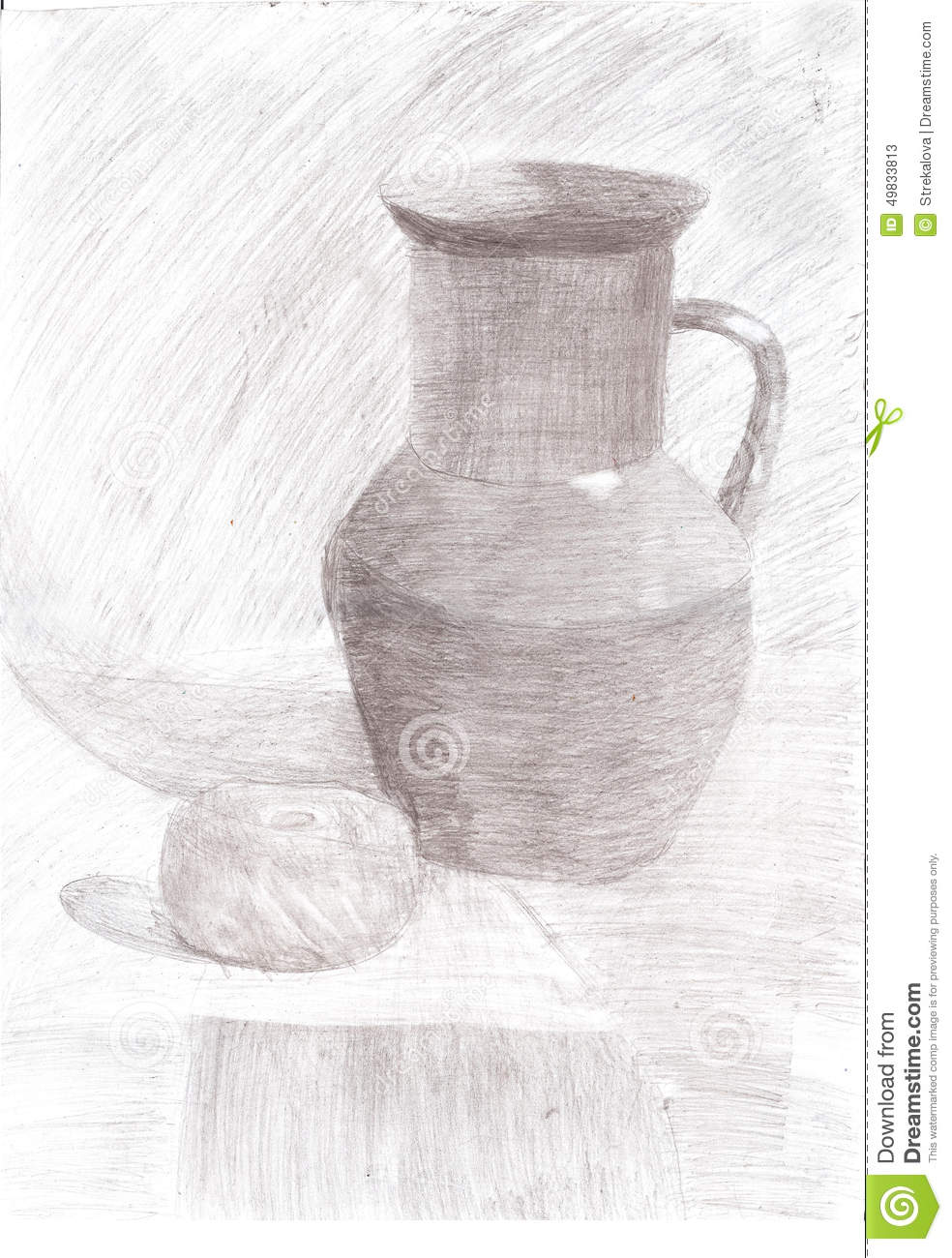 Pencil drawing still life jug and apple on the table