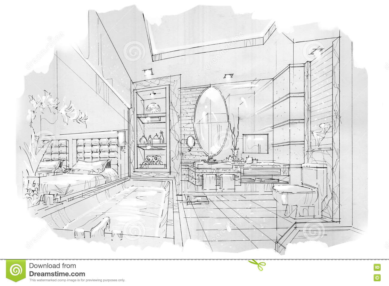 Bathroom perspective drawing - Sketch Perspective Interior Bathroom Black And White Interior Design