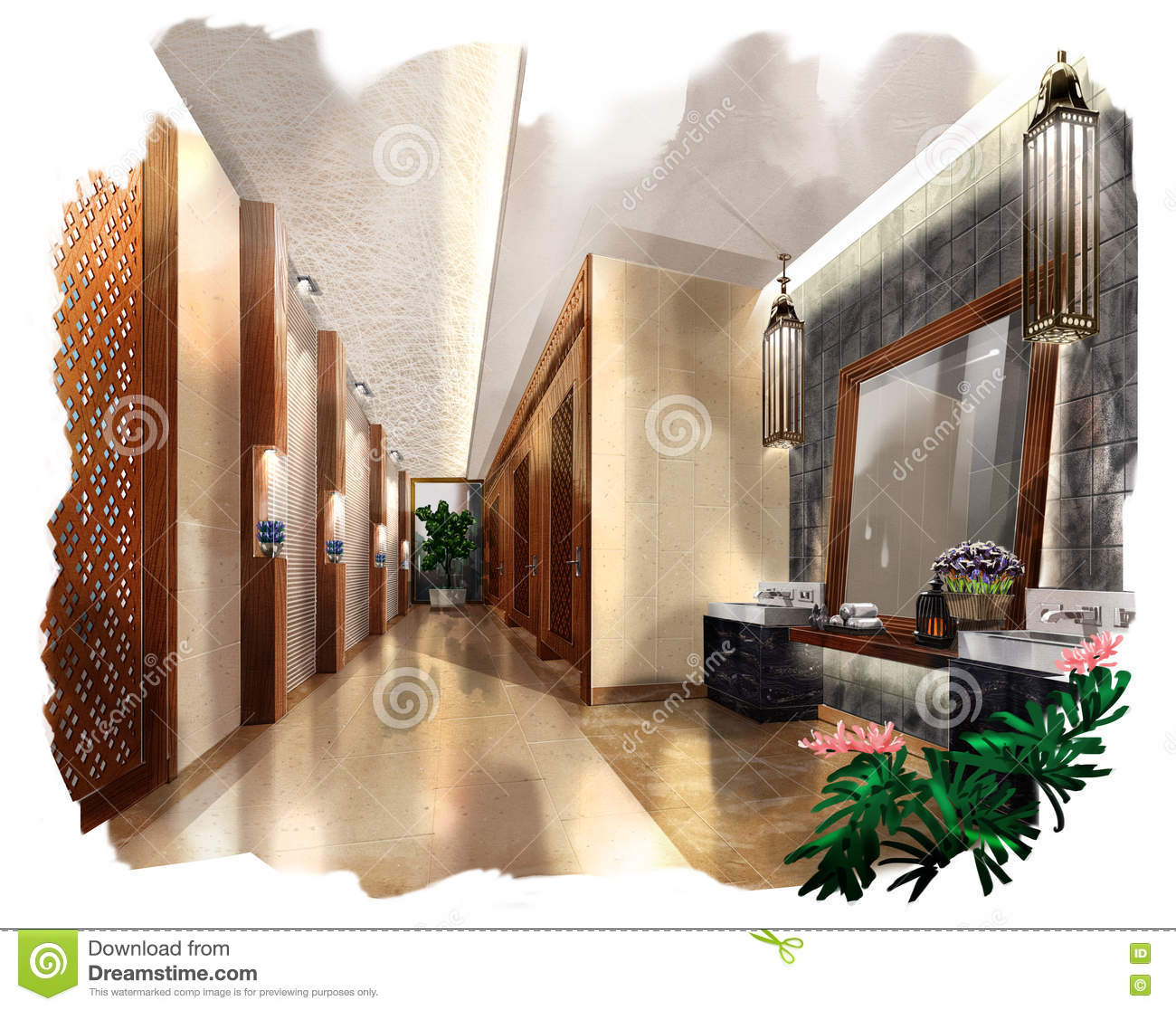 Sketch Perspective Interior Bathroom Into A Watercolor On ...