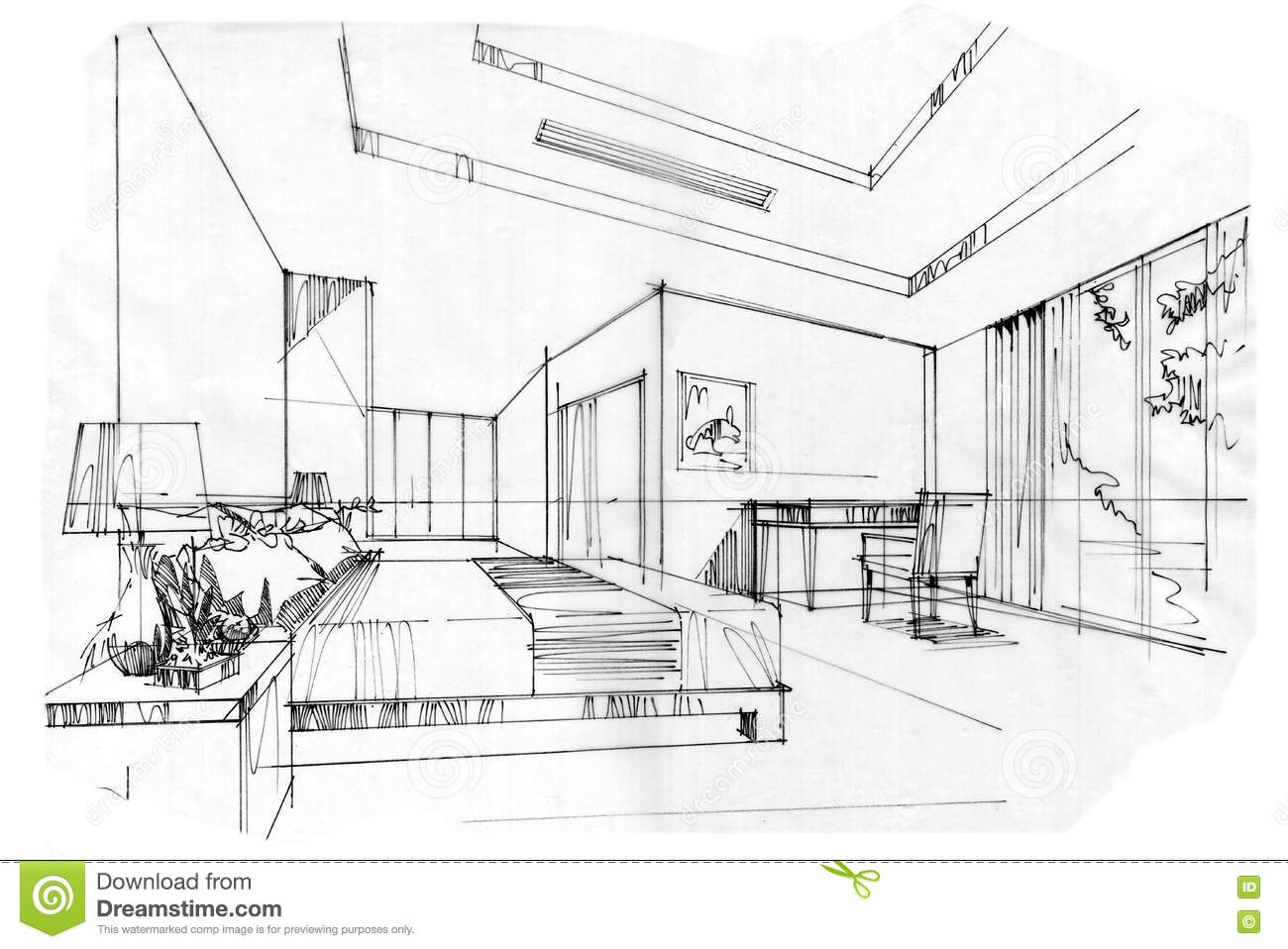 Interior Design Sketches Living Room sketch interior perspective living room, black and white interior