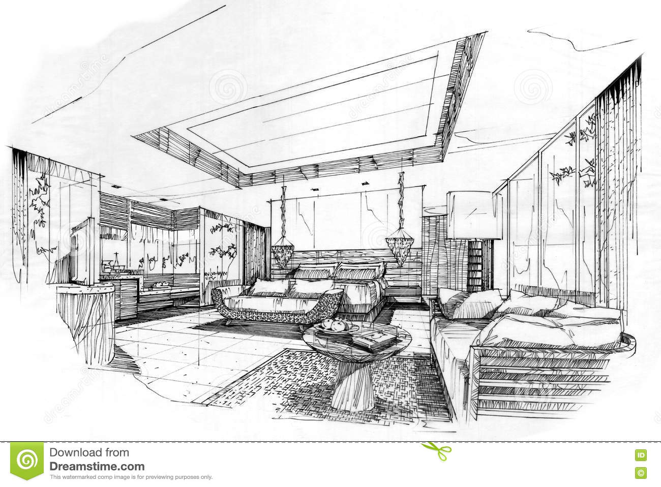 Royalty Free Illustration. Download Sketch Perspective Interior ...
