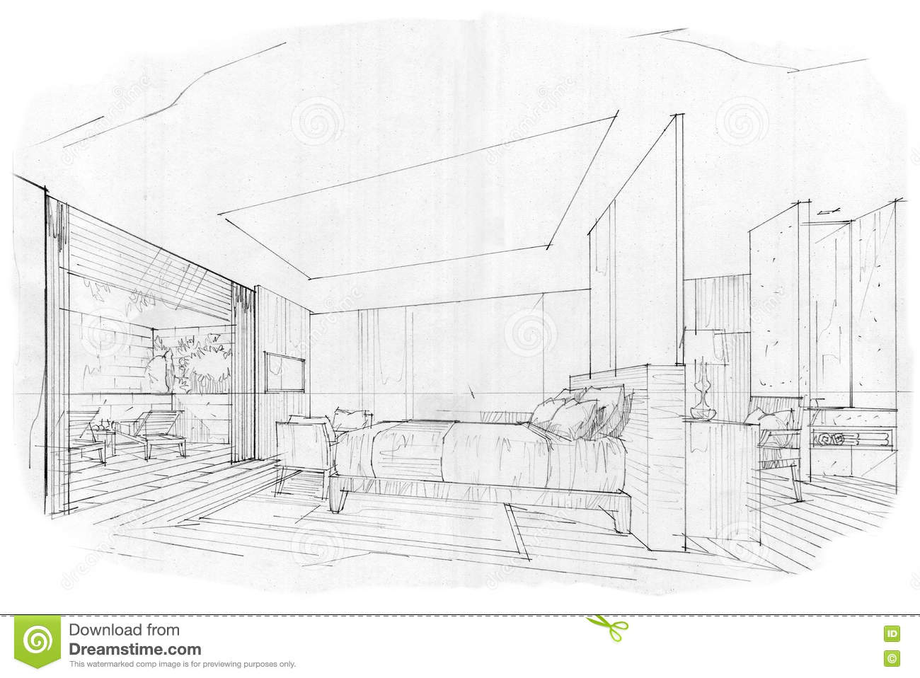 Bedroom drawing perspective - Sketch Perspective Interior Bedroom Black And White Interior Design