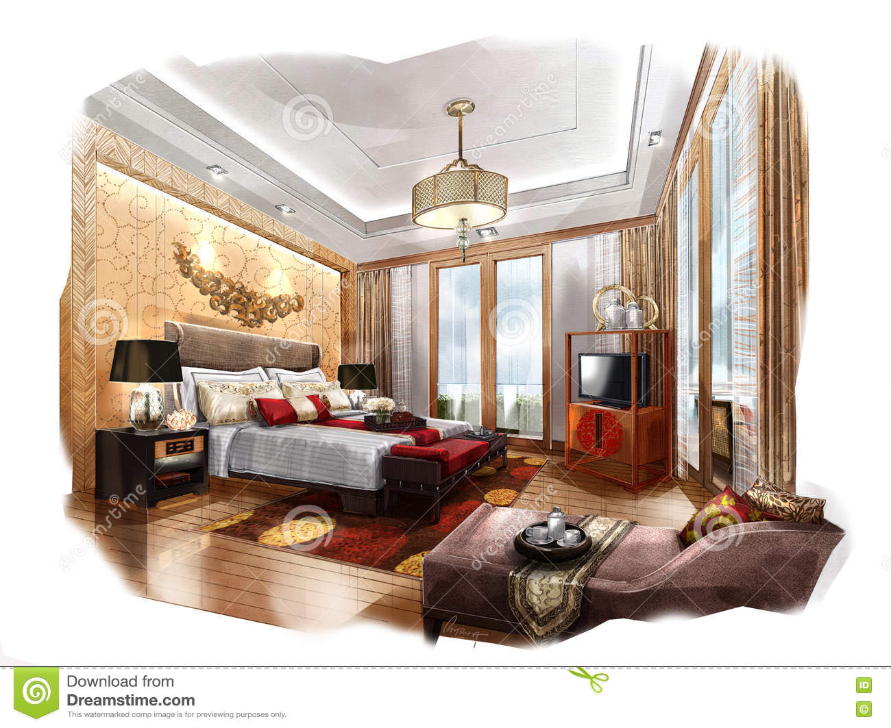 Bedroom drawing with color - Sketch Perspective Interior Bedroom Into A Watercolor On Paper Royalty Free Stock Images