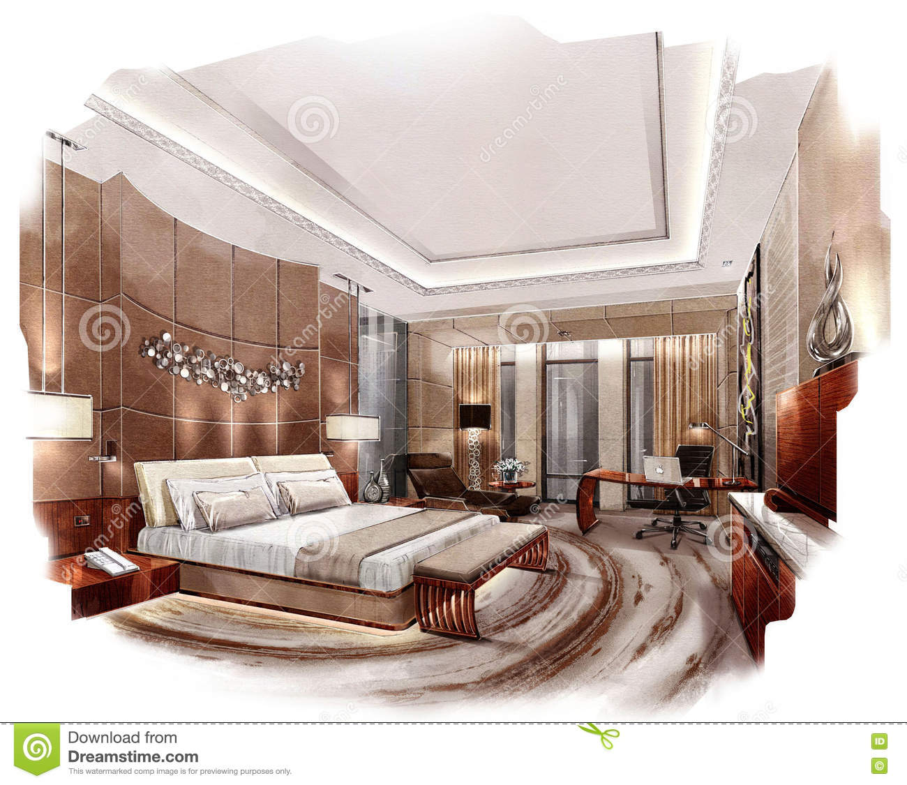 Sketch Perspective Interior Bedroom Into A Watercolor On
