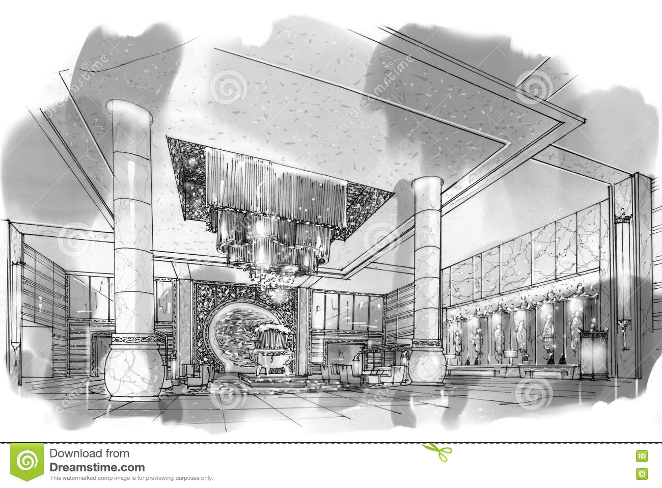 Sketch Perspective Interior Lobby , Black And White Interior ...