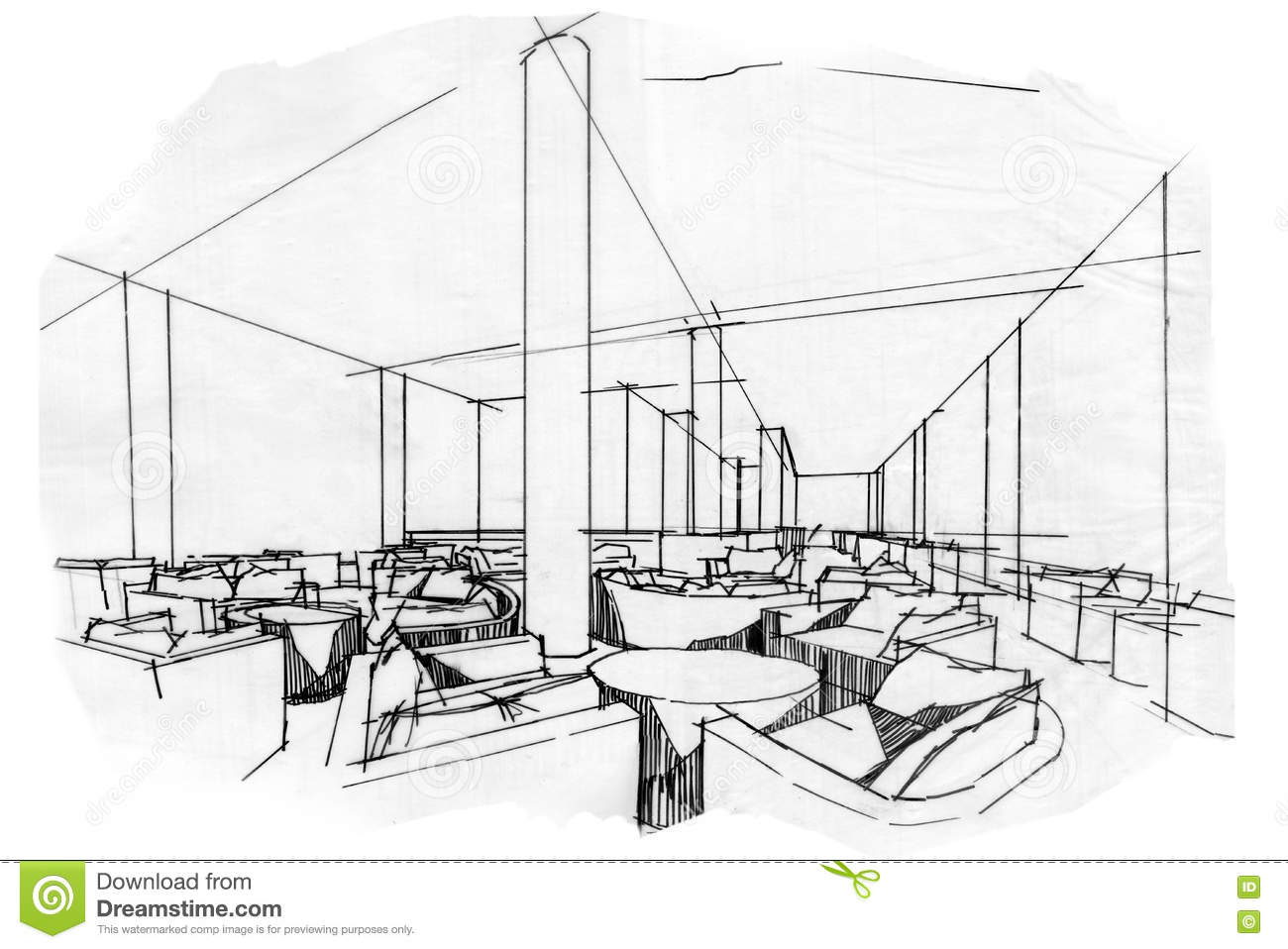 Sketch Perspective Interior Lobby Lounge , Black And White ...