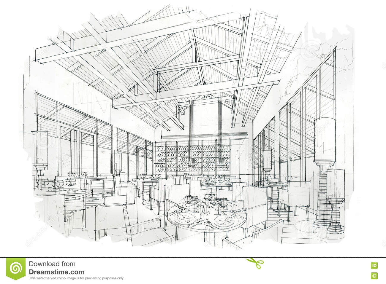 Sketch perspective interior restaurant black and white
