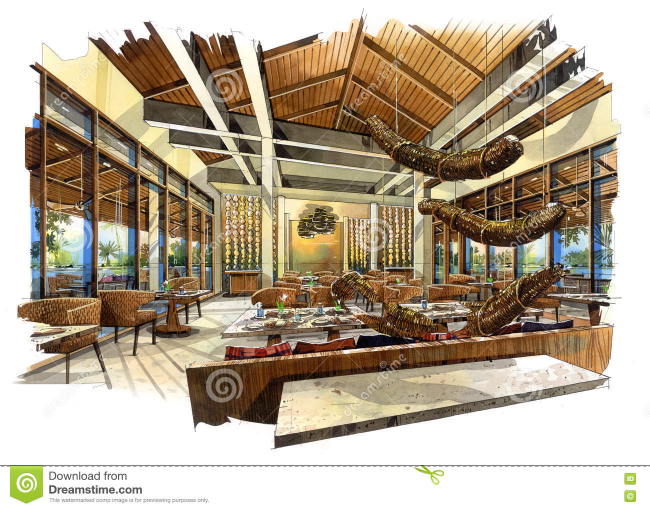 Sketch perspective interior restaurant into a watercolor