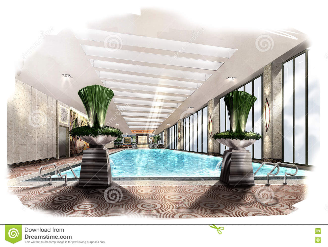 Sketch perspective interior swimming pool into a for Swimming pool sketch