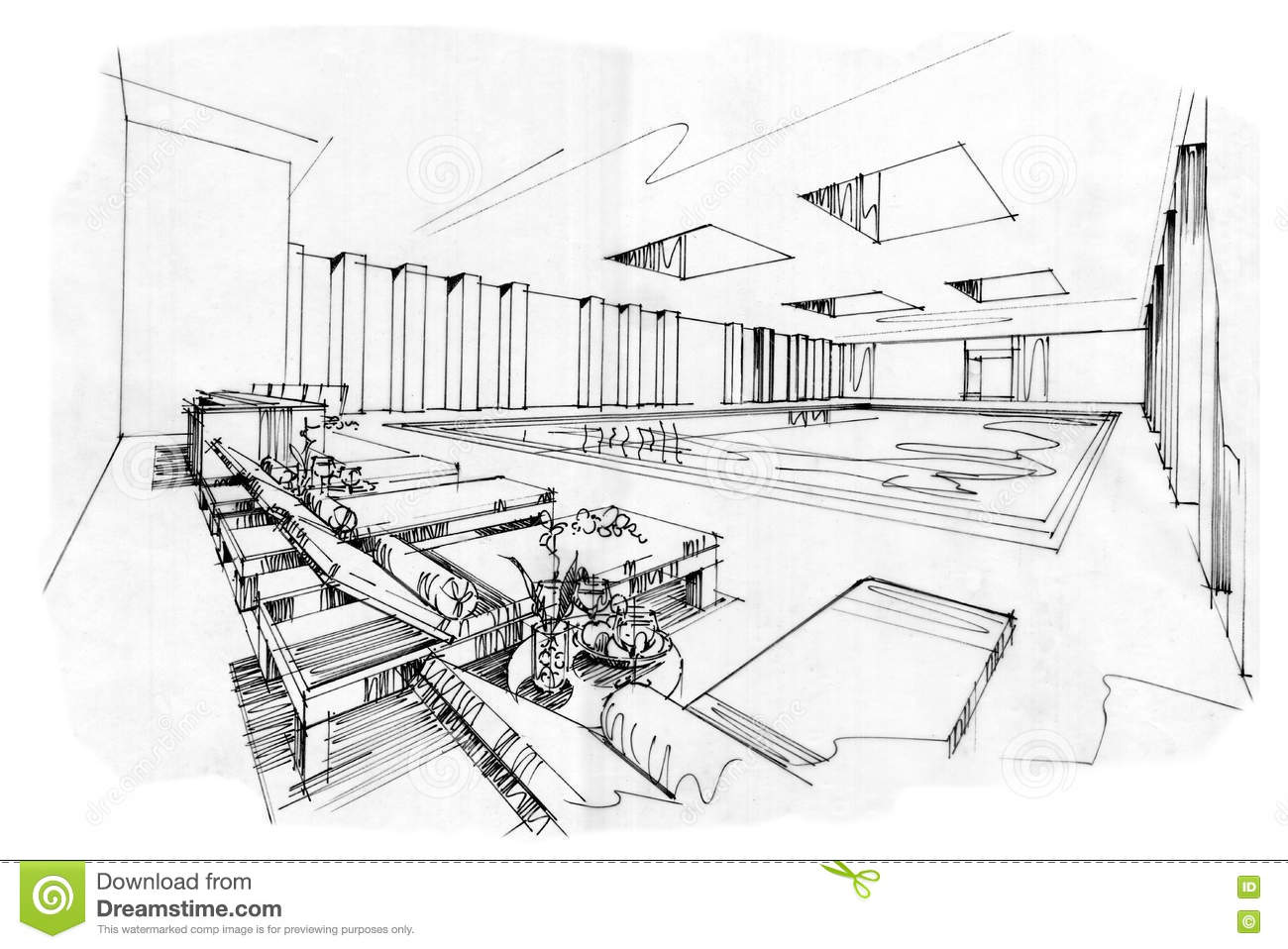 Drawing Swimming Pools : Sketch perspective interior swimming pools black and