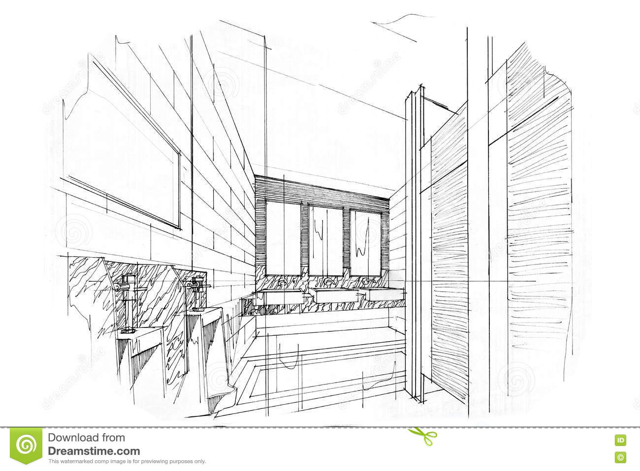 Sketch Perspective Interior Toilet Bathroom Black And White Design