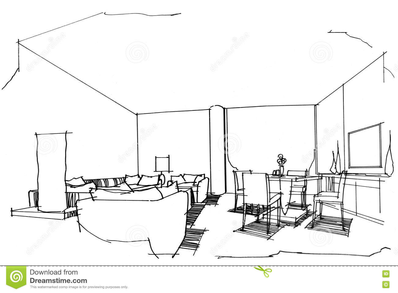 Sketch perspective interior vip room black and white for Vip room interior design