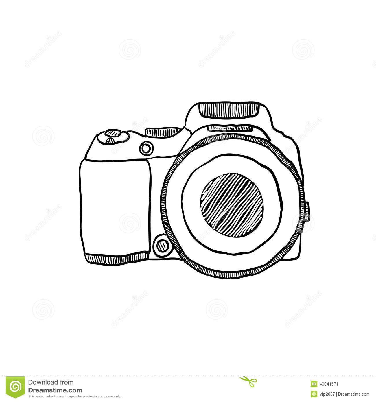 The Sketch Of A Photo Camera Drawn By Hand Stock Vector - Illustration Of Draw Film 40041671