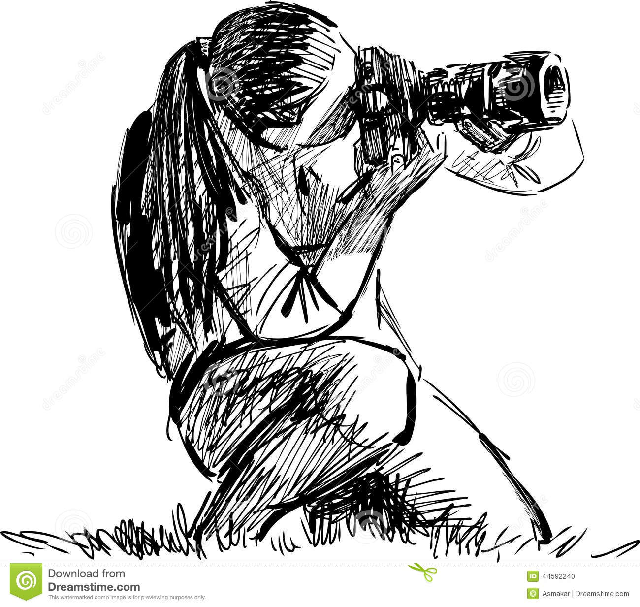 Sketch of a photographer stock vector image 44592240